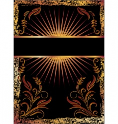 Black background with copper ornament vector