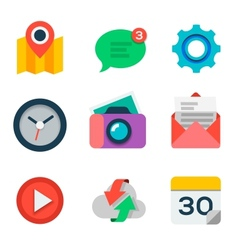 Basic flat icon set for web and mobile application vector