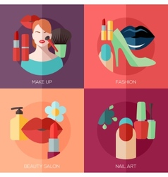 Set of flat design concept icons for make up vector