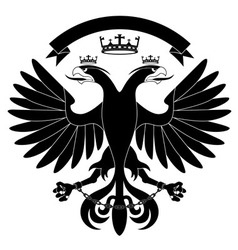 Doubleheaded heraldic eagle with crown vector