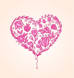 Hand drawn pink floral heart vector