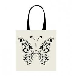 Shopping bag design vintage butterfly vector