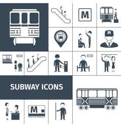 Subway icons black vector