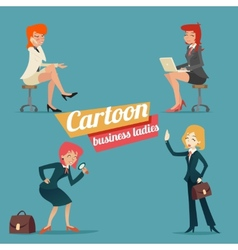 Business woman happy smiling lady characters set vector