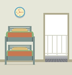 Bunk bed with an open door vector