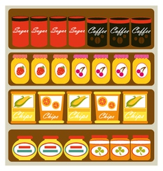 Grocery shelves vector