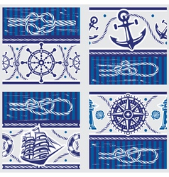 Seampless patterns with nautical symbols and vector