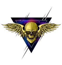Hipster skull with wings vector