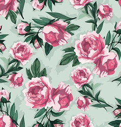 Seamless floral pattern with pink roses watercolor vector