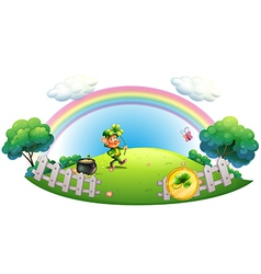 A man with a pot of gold coins inside the fence vector