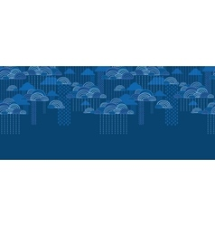 Rain clouds horizontal seamless pattern background vector