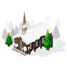 Church on christmas vector