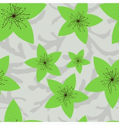 Seamless pattern with green flowers vector
