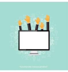 Teamwork management concept flat icons global vector