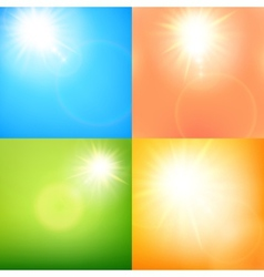 Summer sun burst with lens flare set eps 10 vector