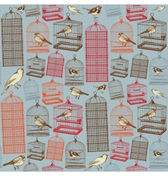Birds and cages seamless pattern vector