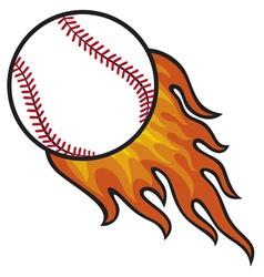Baseball ball in fire vector