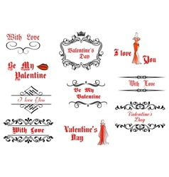 Valentines day messages and headlines vector