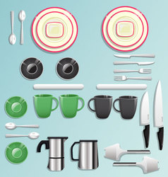 Kitchen equipment and tool icon set vector