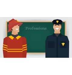 Occupation set firefighter and policeman vector