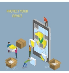 Mobile device protection concept vector