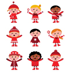 Cute little christmas kids vector