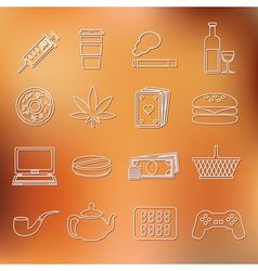 Addiction outline icons vector