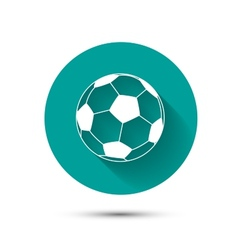 Football icon on green background with shadow vector