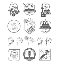 Set logos and badges rap music vector