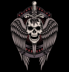 Winged skull with sword stuck vector