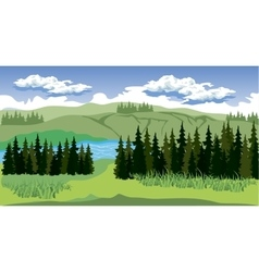 Beauty landscape with forest and mountain vector