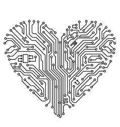 Computer heart with motherboard vector
