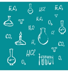 Hand drawn chemical background vector