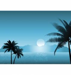 Tropical scene at night vector