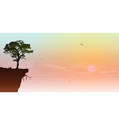 Tree on a cliff vector