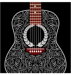 Grungy background with black acoustic guitar vector