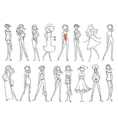 Women in fashion clothes isolated on white vector