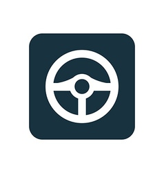 Steering wheel icon rounded squares button vector