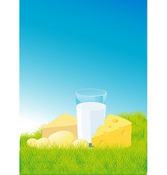Dairy products lying on green grass - vector