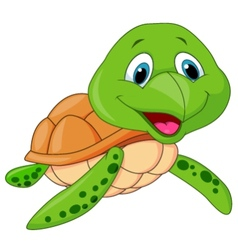 Cute sea turtle cartoon vector