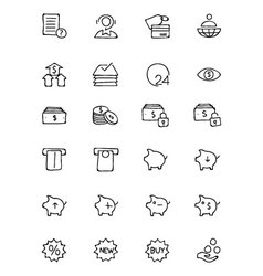Finance hand drawn doodle icons 10 vector