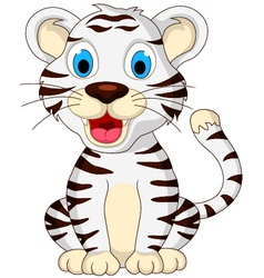 Cute baby white tiger sitting vector