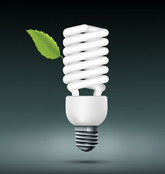 Energy saving lamp with green leaf vector