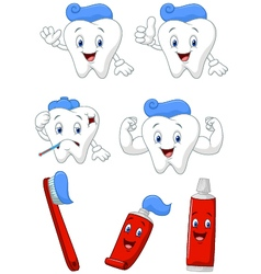 Tooth brush and tooth paste cartoon character col vector