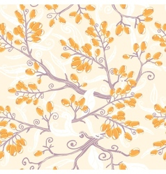 Orange buckthorn berries seamless pattern vector