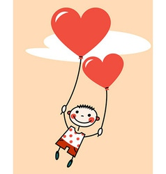 Smiling boy with heart shaped balloons vector