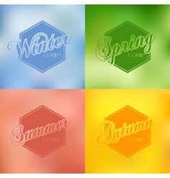 Four seasons background typography set vector