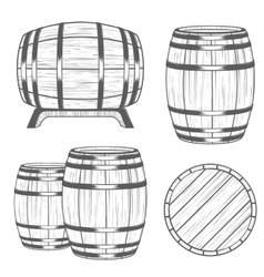 Set barrels in vintage style vector