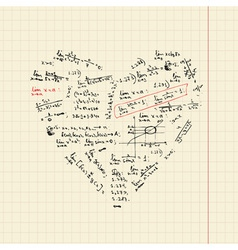 Heart shape with math formulas vector