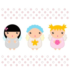 Kawaii christmas angels set isolated on white vector
